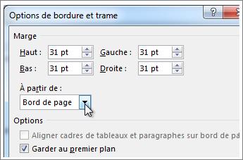 Boîte de dialogue Options de bordures et trame