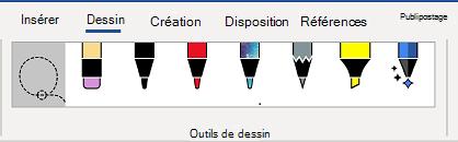 Onglet Outils de dessin du ruban de Word.