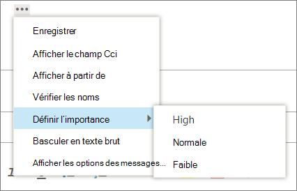 Capture d'écran affiche les options supplémentaires disponibles pour les messages avec l'option pour définir l'importance mis en surbrillance, afficher les valeurs de haute, normale et faible.