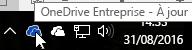 Capture d'écran montrant le curseur pointant sur l'icône OneDrive bleue, avec le texte OneDrive Entreprise.