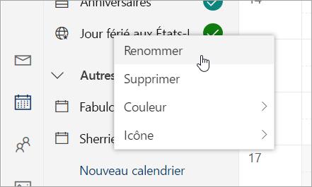 Capture d'écran du menu contextuel calendrier