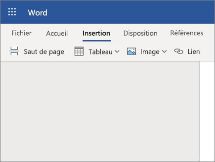 Insérer une image dans Word Online