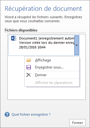 Volet Récupération de document