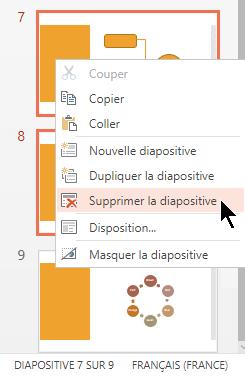 Cliquez avec le bouton droit sur une diapositive, puis sélectionnez Supprimer la diapositive