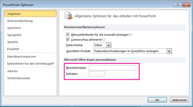Options Personnaliser Word 2010