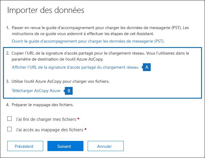 Copiez l'URL de sa et téléchargez l'outil Azure AzCopy sur la page Importer des données