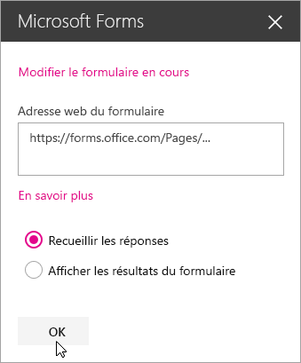 Lorsqu'un nouveau formulaire est créé, le panneau du composant WebPart Microsoft Forms affiche l'adresse web du formulaire.
