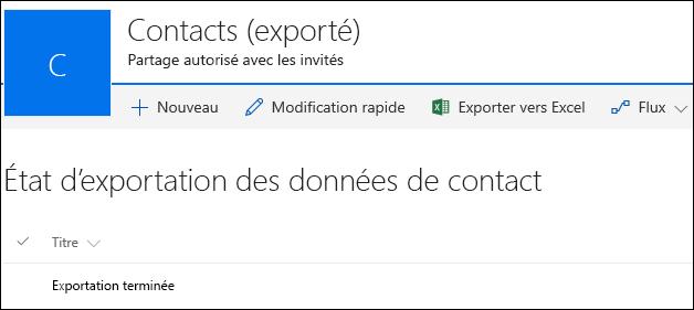 Liste SharePoint avec un enregistrement intitulé Exportation terminée