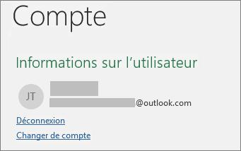 Présente le lien Se déconnecter dans le mode Backstage d'Office sur Windows