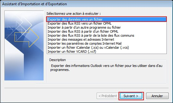 Select Export to a file, and then click Next.