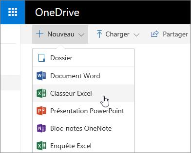 Menu Nouveau de OneDrive, commande Classeur Excel