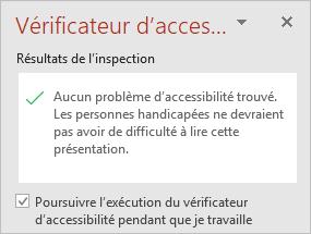 Le volet Vérificateur d'accessibilité avec la case à cocher «Conserver le vérificateur d'accessibilité s'exécuter pendant que je travaille»