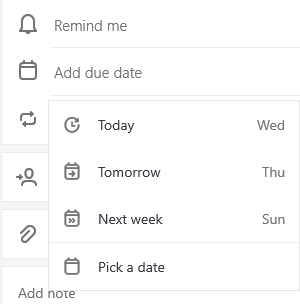 Tâche avec affichage détaillé ouvert et ajouter une date d'échéance sélectionnée avec l'option de sélection du jour, de l'avenir ou de la semaine prochaine, ou choisir une date