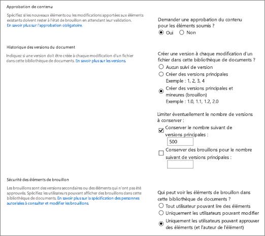 Boîte de dialogue Options de contrôle de version