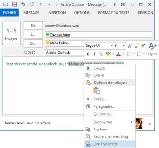 Lien hypertexte dans le menu contextuel de courrier électronique