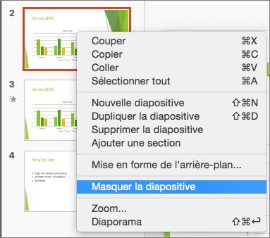 Capture d'écran montre une diapositive est sélectionnée et le menu contextuel avec l'option Masquer la diapositive sélectionnée.