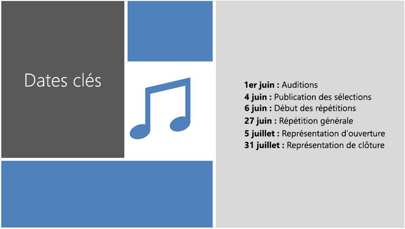 Exemple de diapositive avec une barre de Planning texte à laquelle le concepteur PowerPoint a ajouté une illustration et la conception.