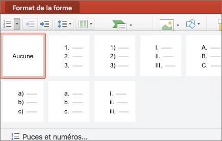 Styles de numérotation disponibles lorsque vous sélectionnez la flèche située sur le bouton Numérotation