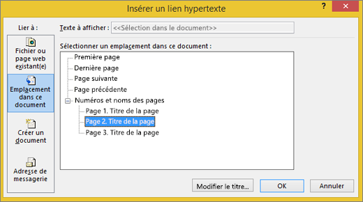 Création d'un lien hypertexte vers une page de la composition