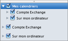 Groupe Mes calendriers dans Outlook 2016 pour Mac