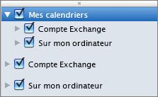 Groupe Mes calendriers dans Outlook2016 pour Mac