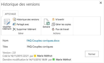 Boîte de dialogue Historique des versions SharePoint2016