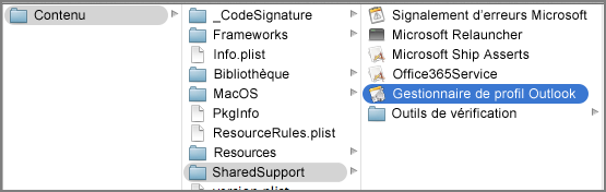 Afficher le contenu du package pour Outlook