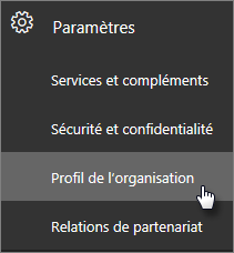 Dans le Centre d'administration, accédez à Paramètres, puis à Profil de l'organisation.