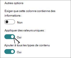 Sélection de l'application Appliquer des valeurs uniques