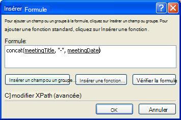 Formule finale dans la boîte de dialogue Insérer une formule qui crée le nom du formulaire