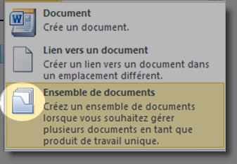 Menu Nouveau document avec l'icône Ensemble de documents sélectionnée