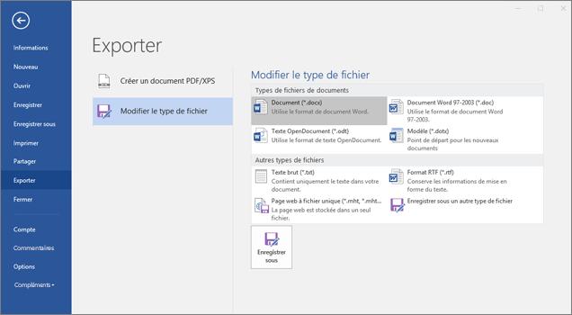 Capture d'écran de l'exportation: Interface de Modifier le type de fichier