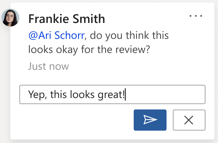 Image d'un commentaire montrant le bouton publier Le bouton publier figure dans le coin inférieur droit de la carte de commentaire lorsque vous rédigez un nouveau commentaire ou une réponse à un commentaire.