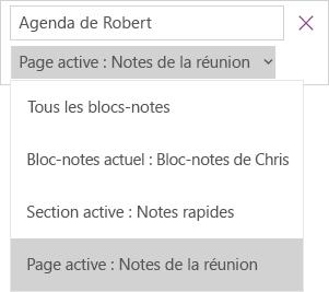 Affiche la liste déroulante de recherche avec les options d'étendue, et la page en cours active.