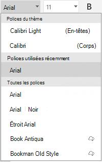 Liste des polices