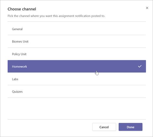 Sélectionnez le canal dans lequel vous voulez publier cette notification de devoir.