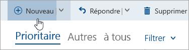 Capture d'écran du bouton Rédiger un nouveau message