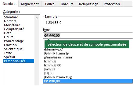 Fonction TEXTE - Devise personnalisée avec symbole
