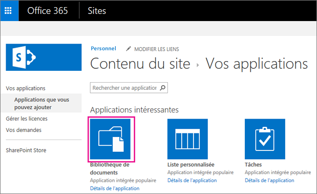 Pour ajouter un nouveau conteneur de stockage des documents, dans la page Vos applications, sélectionnez la vignette Documents.