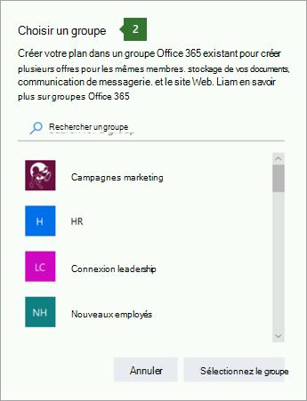 Capture d'écran de la boîte de dialogue Choisir un groupe