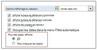 Options permettant d'afficher et de masquer des objets dans la boîte de dialogue Options d'Excel