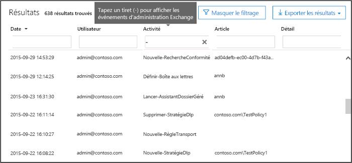 Tapez un tiret dans le champ Activités pour filtrer les événements Admin d'Exchange