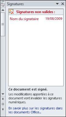 Volet Signatures avec signature non valide