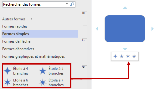 Mini-barre d'outils contenant les nouvelles formes de base