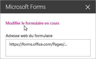Modifier le formulaire en cours dans le panneau du composant WebPart Microsoft Forms pour un formulaire existant.