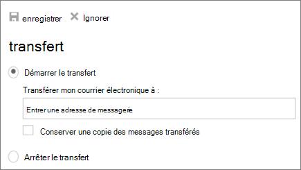 Capture d'écran affiche la boîte de dialogue transfert avec le début transfert d'option est sélectionnée.