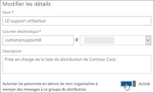 Capture d'écran: Activer bascule pour autoriser les participants externes à envoyer à une liste de distribution