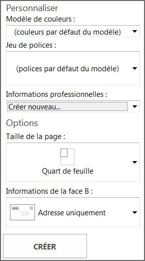 Options de modèle de carte postale pour modèles prédéfinis de Publisher.