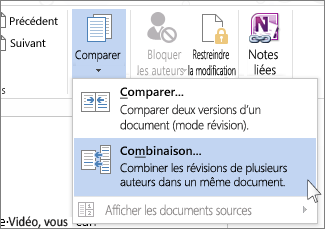 La commande Combiner du menu Comparer
