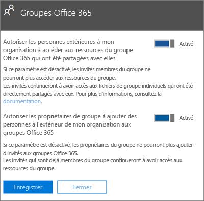 Autoriser les personnes extérieures à mon organisation à accéder aux groupes et ressources Office365